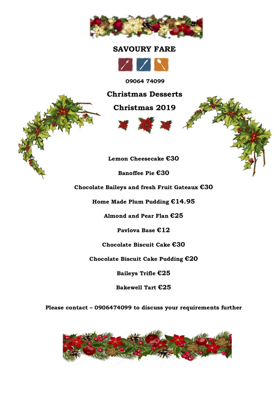 Catering menu Christmas 2019 Desserts